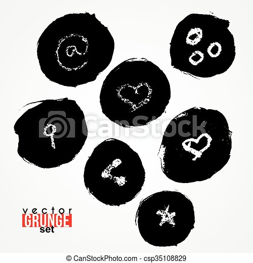 Set Of Vector Routed Spots With Key Symbol Heart At Blots Grunge