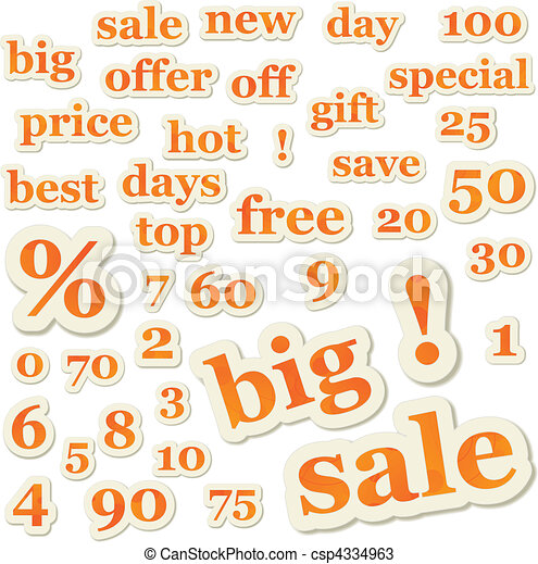 Set of vector sale signs and numbers - csp4334963