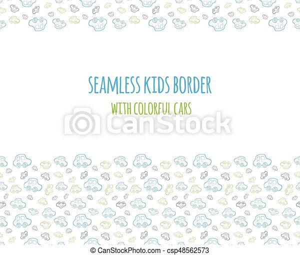 Set of vector seamless baby boy border with hand drawn cars set of vector seamless baby boy border with hand drawn cars elements for design kids banner flyer background wallpaper card and others voltagebd Image collections