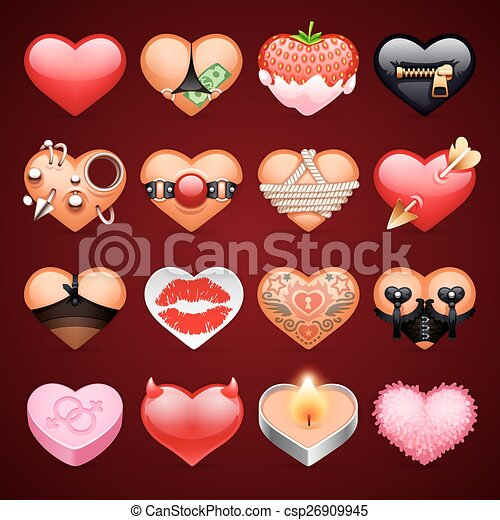 Set of Vector Sex Hearts Icons - csp26909945
