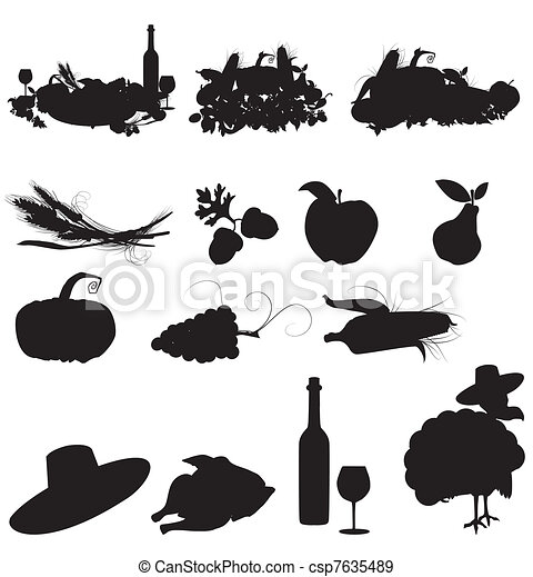 set of vector silhouette images of fall festivals and harvest - csp7635489
