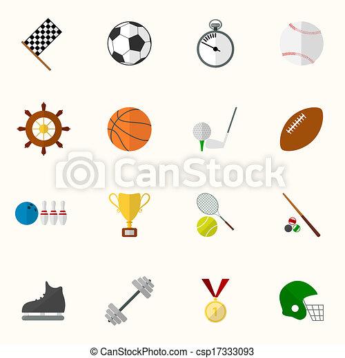 Set of vector sport icons in flat design - csp17333093