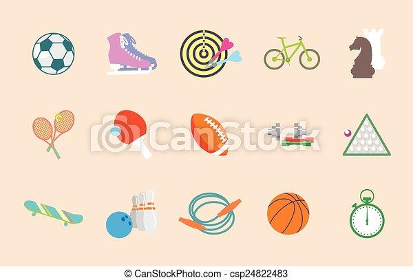 Set of vector sport icons in flat design - csp24822483