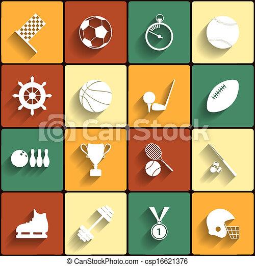 Set of vector sport icons in flat design - csp16621376