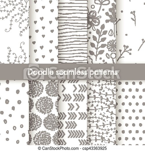 Set of vector spring patterns with flowers, doodle pattern, branches, leaves, dots, hearts. - csp43363925