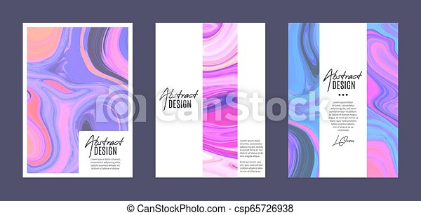 Set of vector templates. Marbling. Marble texture. Artistic abstract colorful background. Splash of paint - csp65726938