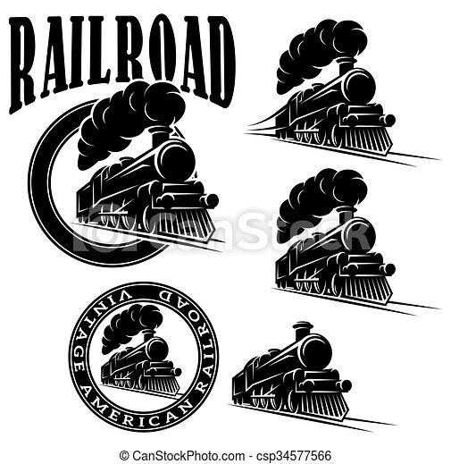 set of vector templates with locomotive, vintage train - csp34577566