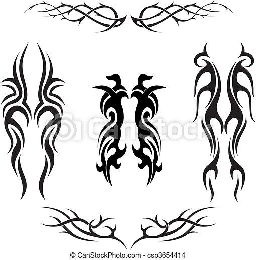 Set of vector tribal tattoos - csp3654414