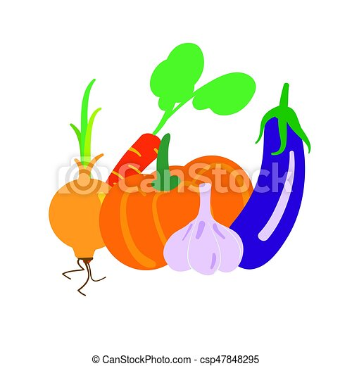 Set of vegetables isolated on white - csp47848295