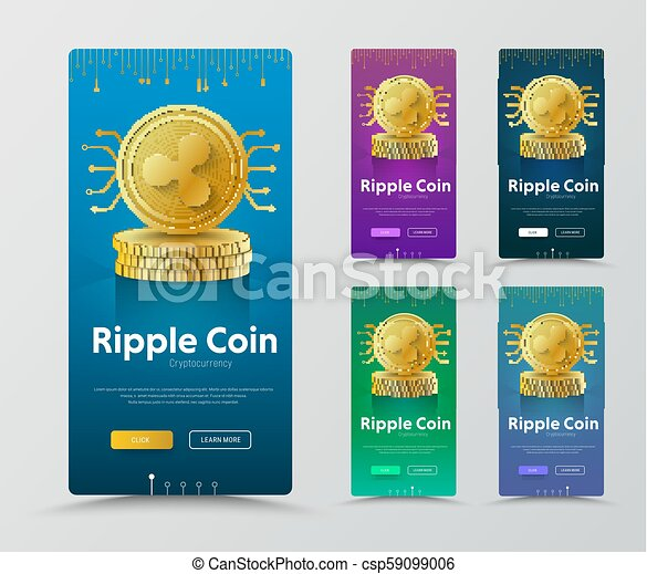 set of vertical banners with gold coin crypto currency ripple web