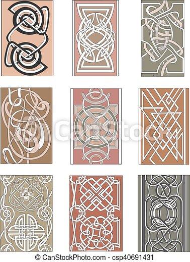 Set of vertical knot ornamental patterns - csp40691431