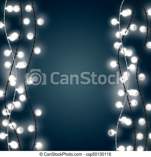 Set of vertical white garland style christmas lights on the dark blue  background. vector design of outdoor patio incandescent light strings. - Set Of Vertical White Garland Style Christmas Lights On The Dark