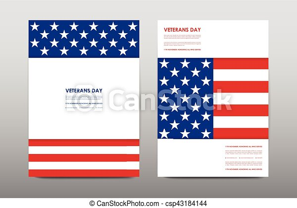 set of veterans day brochure poster templates in usa flag style beautiful design and