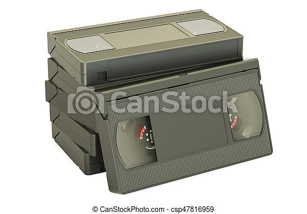 set of videotapes, 3D rendering - csp47816959