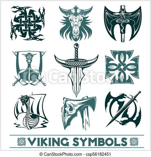 Set Of Viking Symbols Icons Vector Tattoo Design Set On White
