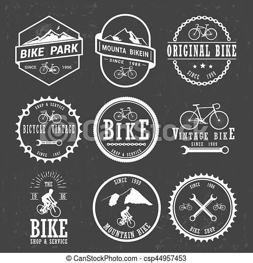 Set Of Vintage And Modern Bike Shop Logo Badges And Labels