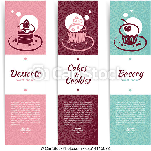 Set of vintage bakery banners with cupcakes. Menu for restaurant and cafe	 - csp14115072