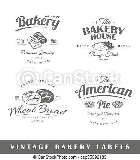 Set of vintage bakery labels - csp35392183