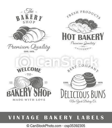 Set of vintage bakery labels - csp35392305
