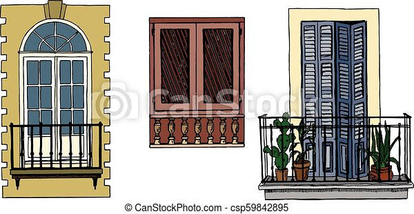 Set of vintage balconies and window with shutters - csp59842895