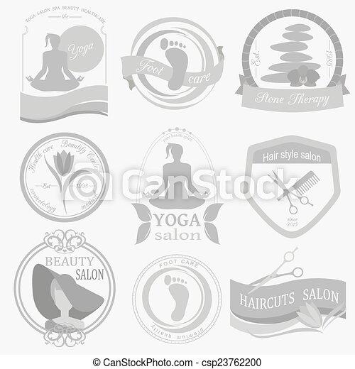 Set Of Vintage Beauty Salon Logos Vector