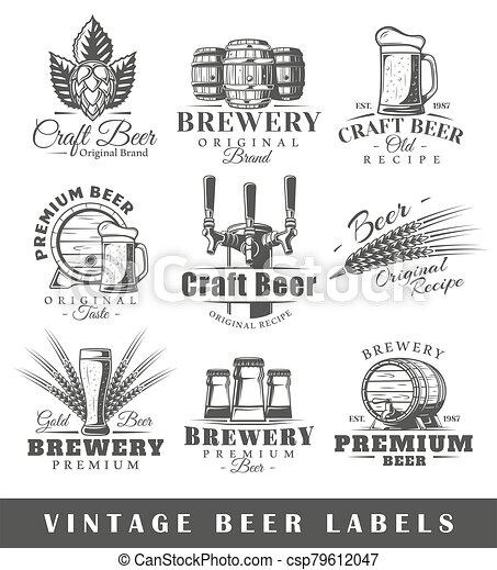 Set of vintage beer labels - csp79612047