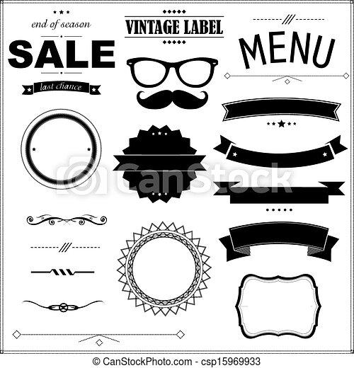 Set Of Vintage Black Badges - csp15969933