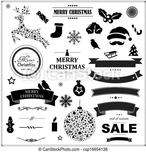 Set Of Vintage Black Christmas Symbols And Ribbons - csp16654138