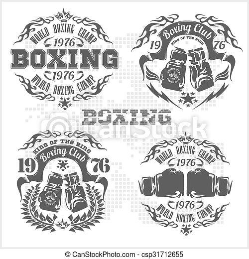 Set of vintage boxing emblems, labels, badges, logos and designed elements. Gray style. - csp31712655