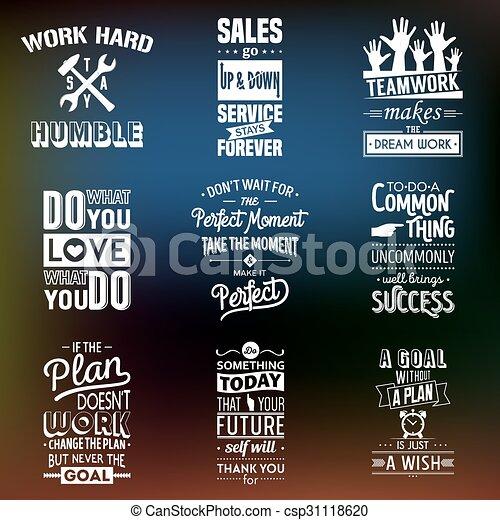 Set of vintage business motivation typographic quotes. - csp31118620