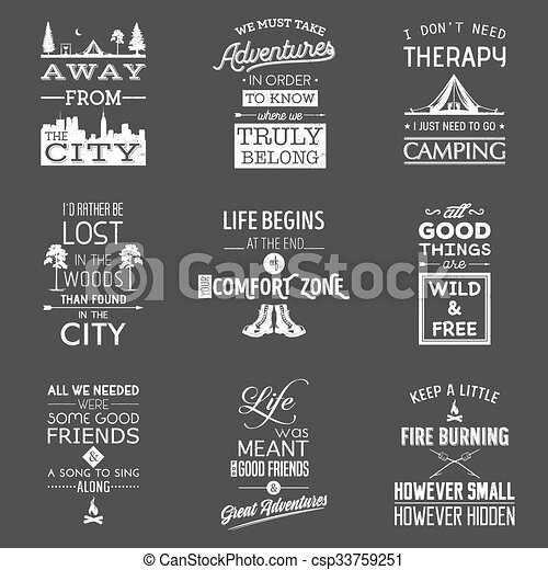 Set Of Vintage Camping Typographic Quotes Vector Eps8 Illustration