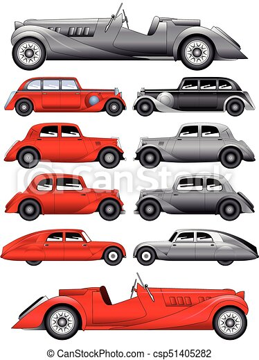 Set of vintage cars - vector - csp51405282