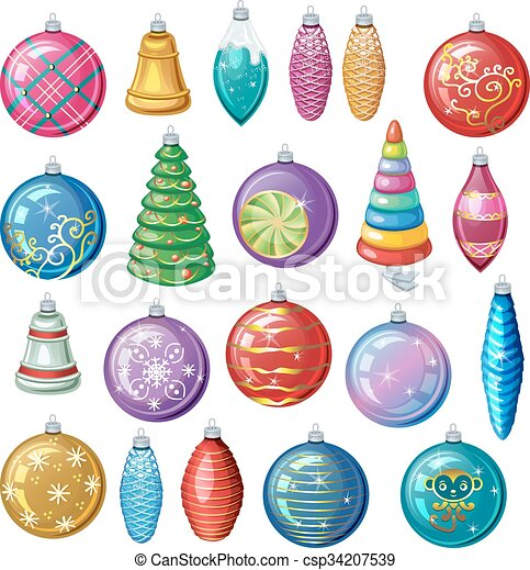Set Of Vintage Christmas Decorations Vector Balls And Toys