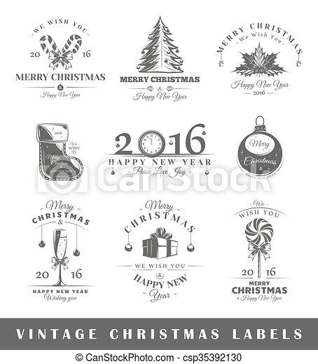 Set of vintage Christmas labels - csp35392130