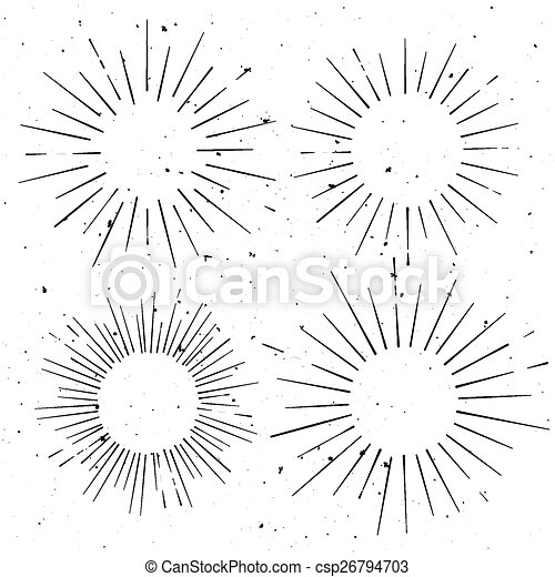 set of vintage circle hand drawn ray frames starburst template with a space for your