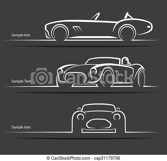 Set Of Vintage Classic Sports Car Vector Silhouettes Set Of Vintage