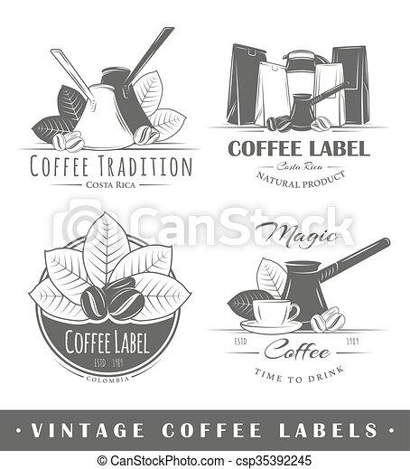 Set of vintage coffee labels - csp35392245