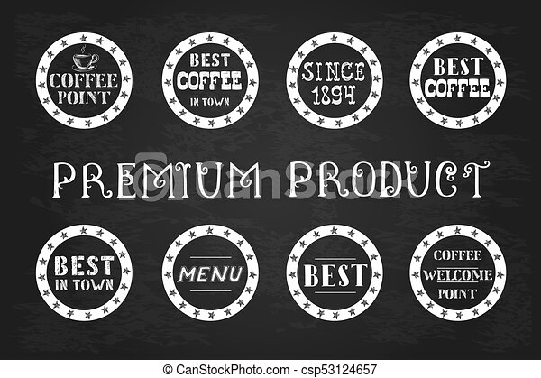 Set of vintage coffee  labels, hand drawn, - csp53124657