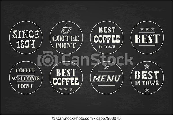 Set of vintage coffee  labels, hand drawn. - csp57968075