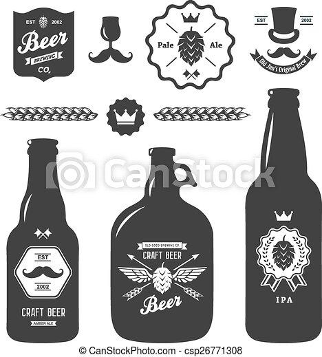 Set Of Vintage Craft Beer Bottles