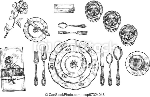 Set of vintage dishes, glasses and cutlery - csp67324048
