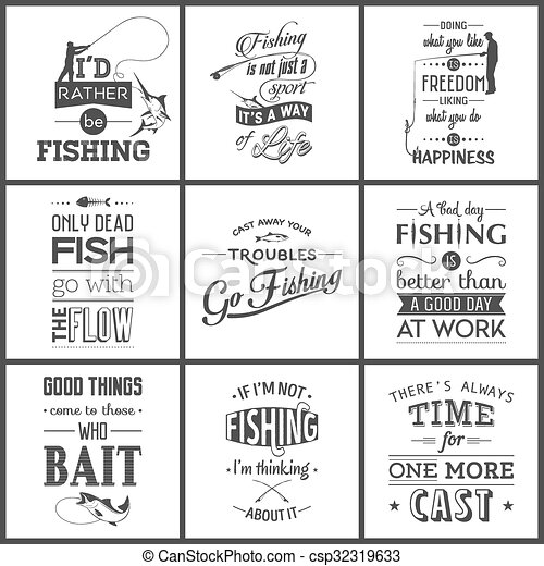 Set of vintage fishing typographic quotes - csp32319633