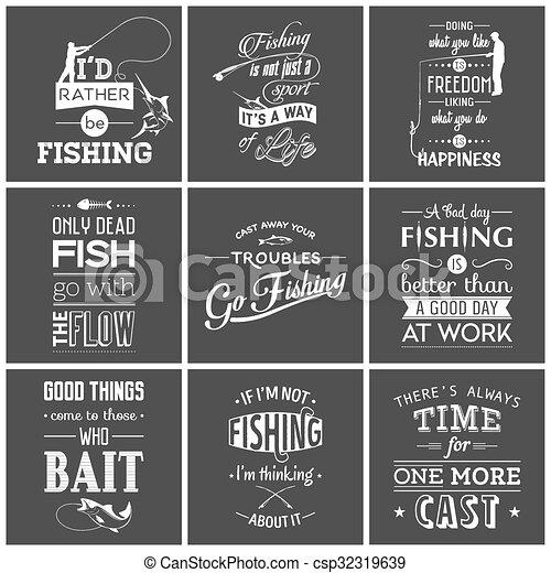 Set of vintage fishing typographic quotes - csp32319639