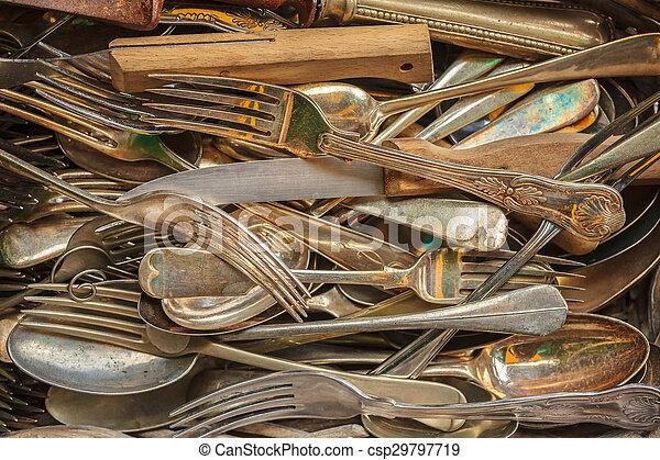Set of vintage forks, spoons and knifes - csp29797719