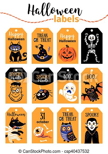 Set Of Vintage Happy Halloween Badges And Labels Cartoon Design Set Halloween Printable Cards And Labels With Cartoon Cute