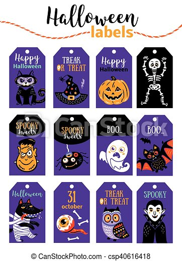 photo about Happy Halloween Cards Printable referred to as Preset of classic Content Halloween badges and labels. Cartoon structure.