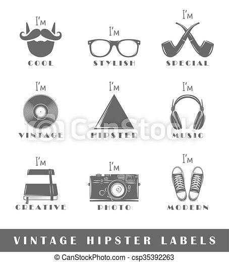 Set of vintage hipster labels - csp35392263