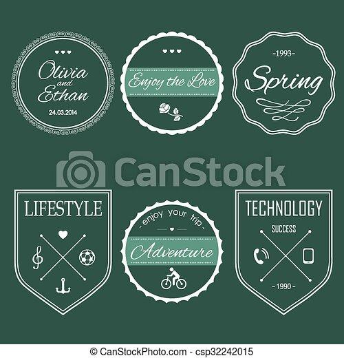 set of vintage hipster logos set of vintage styled hipster design