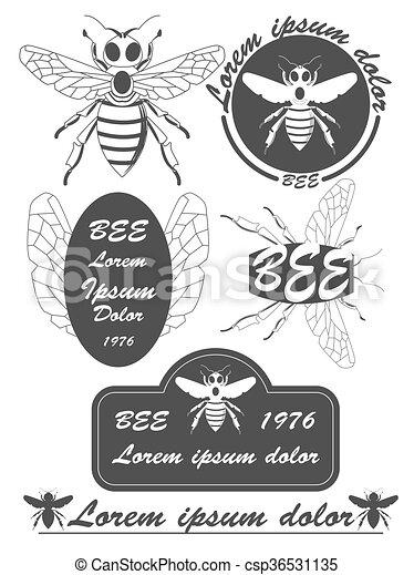 Set Of Vintage Honey Bees Labels Badges And Design Elements