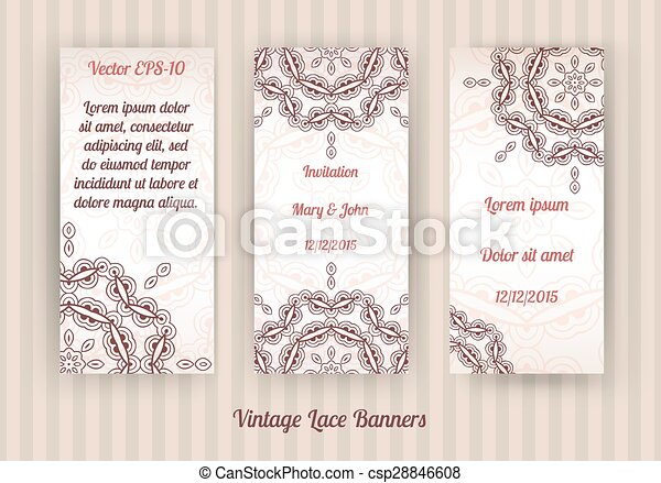 set of vintage invitation cards - csp28846608